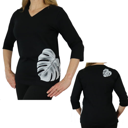 black monstera leaf shirt