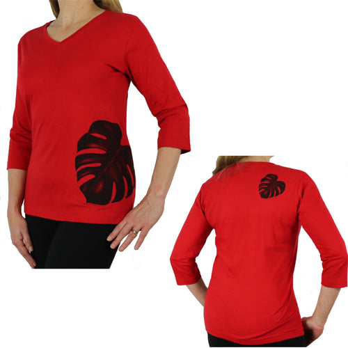 red monstera fern long sleeve shirt