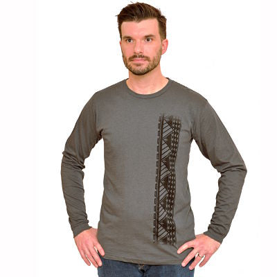 Men's long sleeve shirt with Samoan tattoo print dark gray