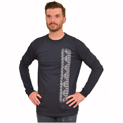 Men's long sleeve shirt with Samoan tattoo print navy