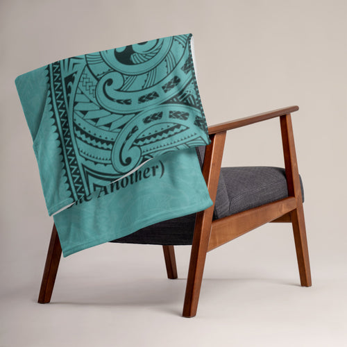 "Manta Ray Polynesian Tattoo Fleece Blanket / Throw 50"" X 60"" - 3 colors available - Aloha Kekahi I Kekahi (Love One Another)"