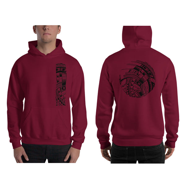 Maroon Polynesian Samoan tattoo Hawaiian Hooded Sweatshirt