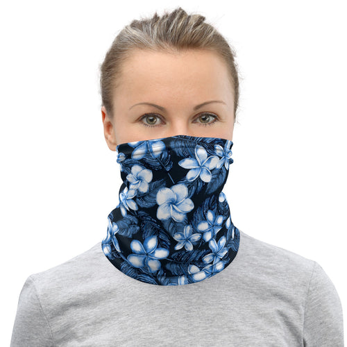 Blue Plumeria Neck Gaiter / Face Mask