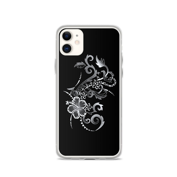 sliver hibiscus iphone case