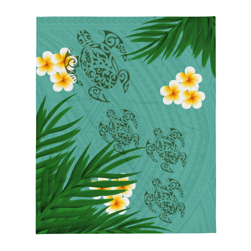 "Honu (Hawaiian Sea Turtle) with Ferns and Plumerias Tattoo Fleece Blanket / Throw 50"" X 60"" - 2 colors available"