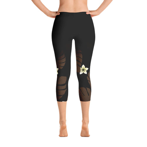 Polynesian Monstera Leaf yoga crop pants
