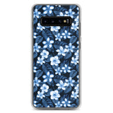 Blue Plumeria Floral Flowers Tropical Samsung Case - Galaxy Case S10 S10+ S10E S20 Plus and Ultra Ori Active