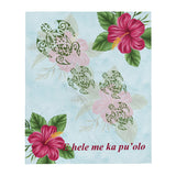 Hibiscus and Honu (Hawaiian Turtle) super soft Throw Blanket - E hele me ka pu'olo - Size - 50