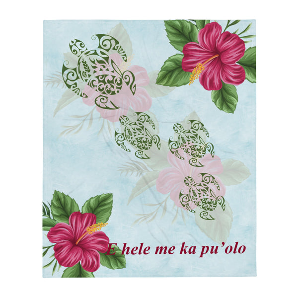 "Hibiscus and Honu (Hawaiian Turtle) super soft Throw Blanket - E hele me ka pu'olo - Size - 50"" X 60"""