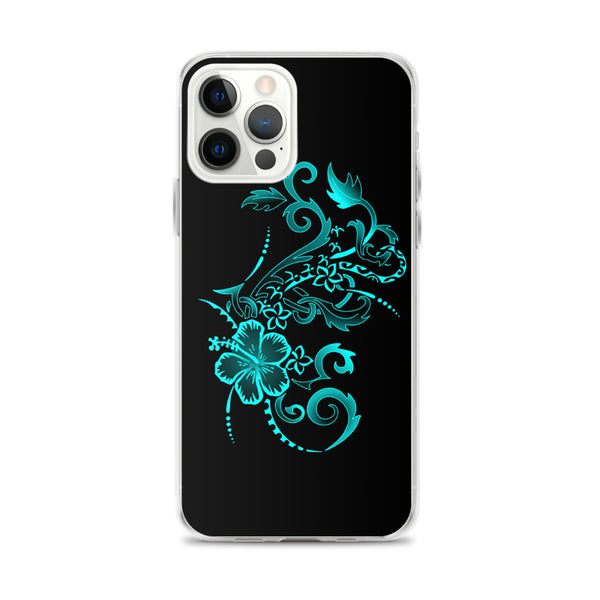 teal hibiscus floral iphone case