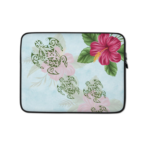 Hibiscus and Honu (Hawaiian Turtle) Tattoo Laptop Sleeve / Case