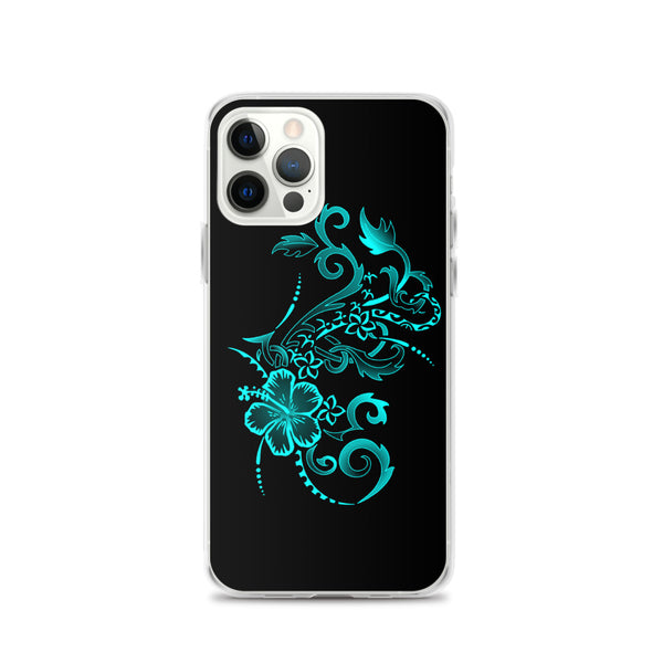Hibiscus iphone case teal
