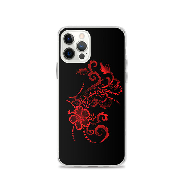 Red Hibiscus tattoo iphone case