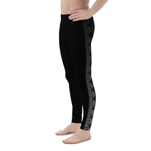 Mens athletic leggings with samoan tattoo print