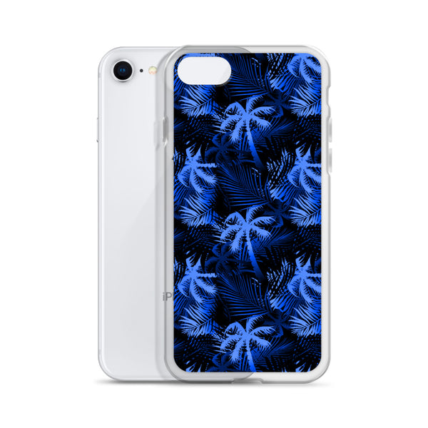 black and blue tropical iphone case