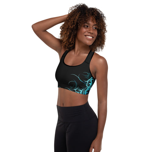Wave Pattern Padded Sports Bra