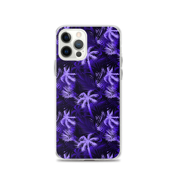 purple and black palm tree iphone case