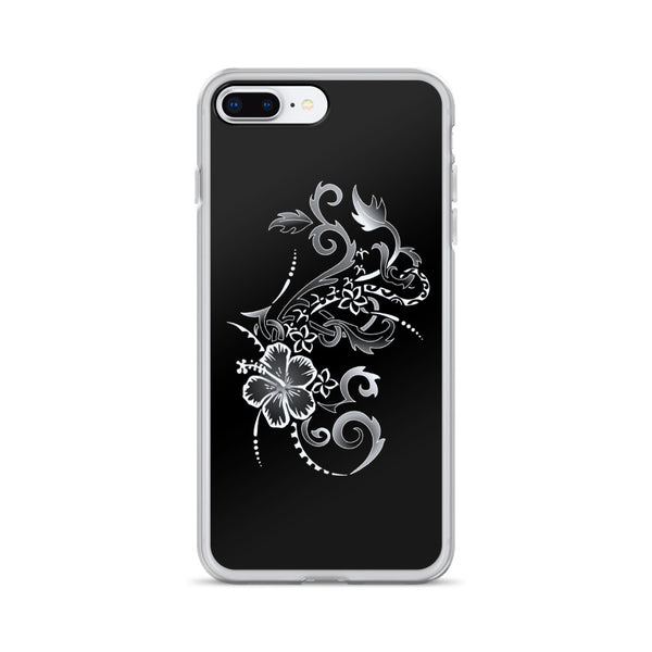 silver and black iphone hibiscus case