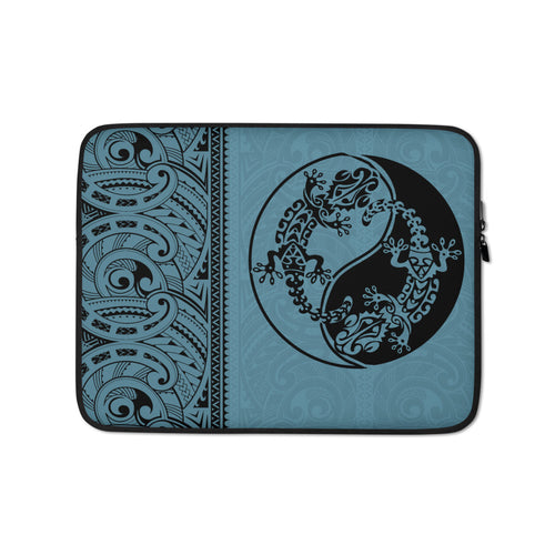Gecko Yin Yang Polynesian Tattoo Laptop Sleeve / Case