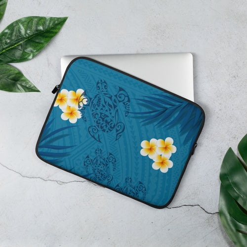 Honu (Hawaiian Sea Turtle) with Ferns and Plumerias Tattoo Laptop Sleeve / Case