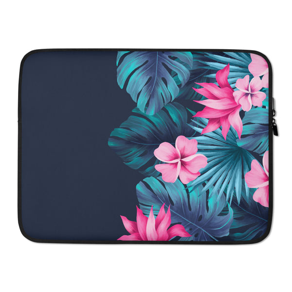 Pink Tropical Floral and Fern Laptop Case / Sleeve