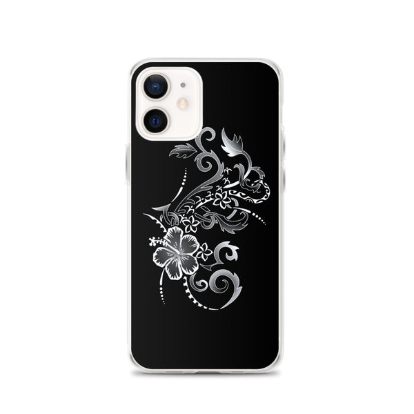 silver hibiscus iphone case