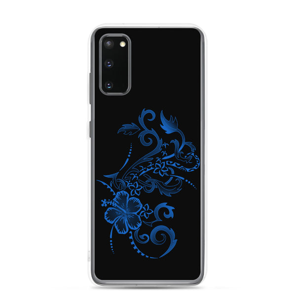 Hibiscus Tattoo Samsung Case - Blue - Samsung Galaxy Case S10 S10+ S10E S20 Plus and Ultra