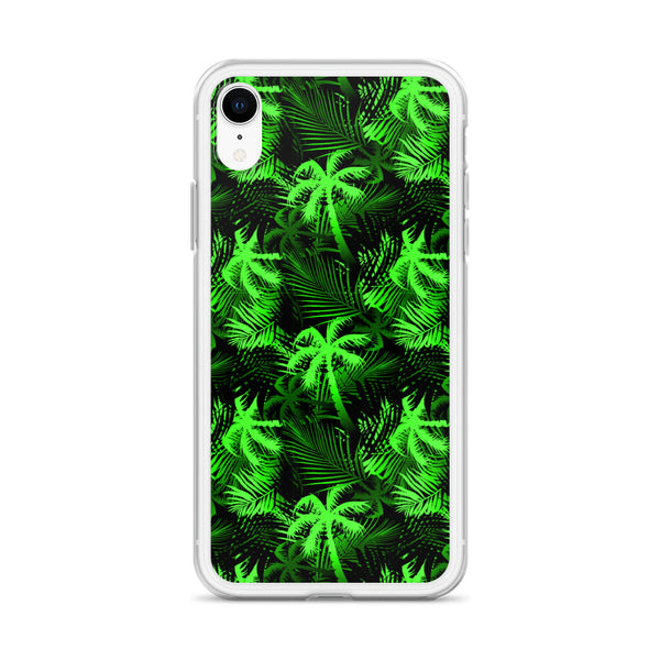 neon green palm tree iphone case