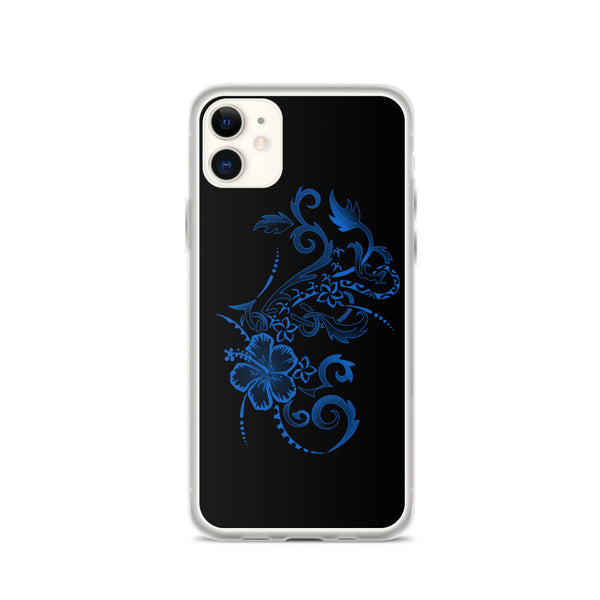 blue hibiscus iphone case