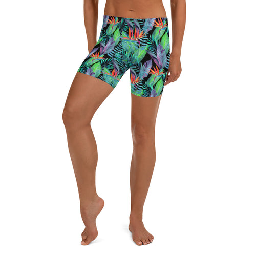 Bird of Paradise Hawaiian Floral and Tropical Fern Crossfit / Athletic Shorts