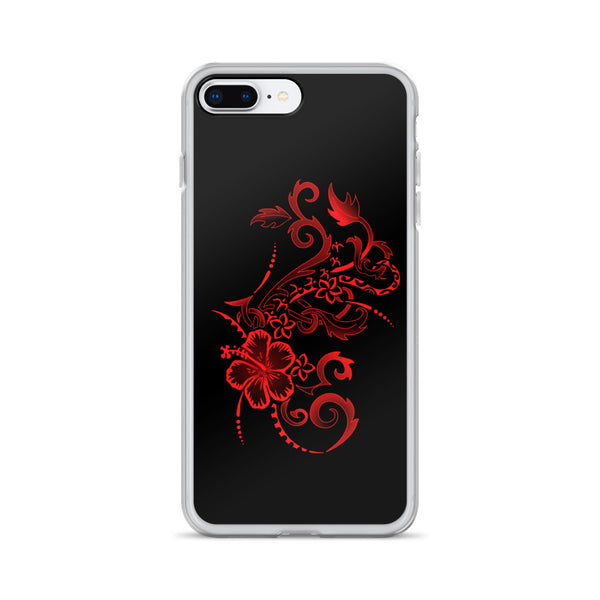 red hibiscus tattoo Polynesian iPhone case