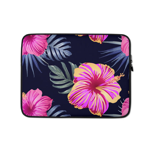 Large Bright Pink Hibiscus Laptop Sleeve / Case