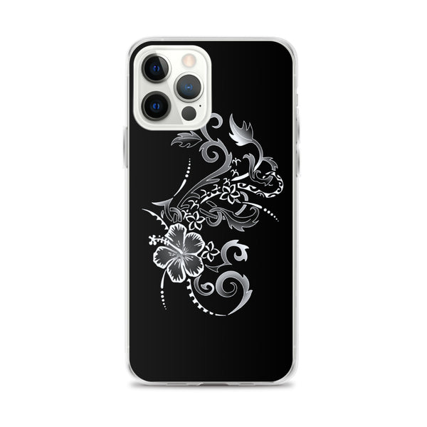 hibiscus silver iphone case