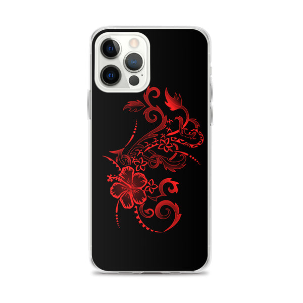 Polynesian tattoo hibiscus iphone case