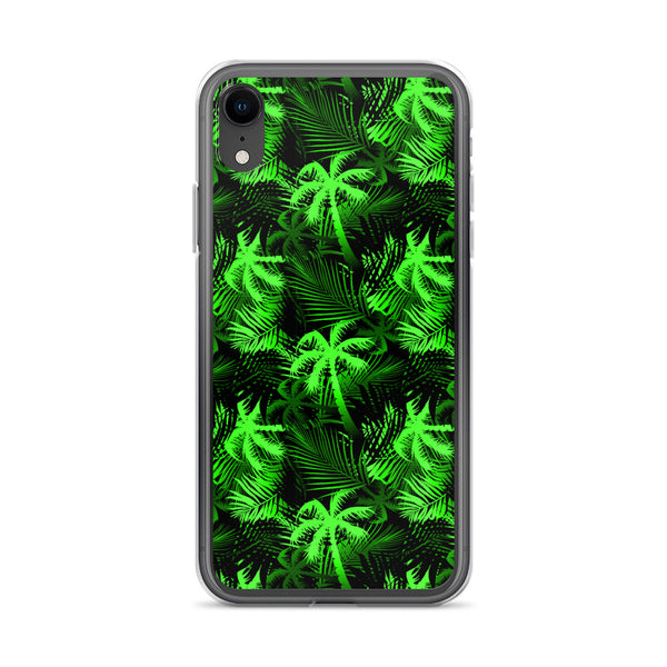 neon green palm tree fern iphone case