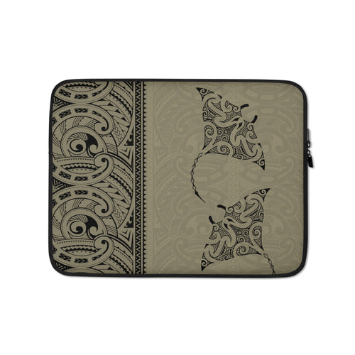 Manta Ray Polynesian Tattoo Laptop Sleeve / Case