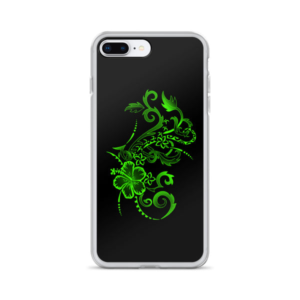 Hibiscus Tattoo iPhone Case - Lime Green -  iPhone Case 11, 11 Pro, 11 Pro max 7, 8, plus SE, XR, X, XS, Xs max