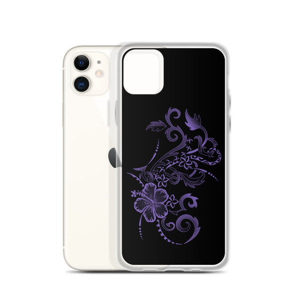 Purple Hibiscus Tattoo Tropical Flowers Hawaiian Floral iPhone Case 11, 11 Pro, 11 Pro max 7, 8, plus SE, XR, X, XS, Xs max - Ori Active