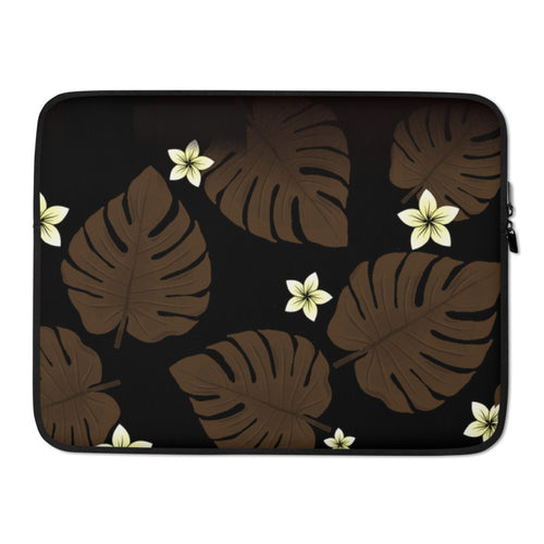 Monstera leaf and Plumeria Laptop Sleeve / Case
