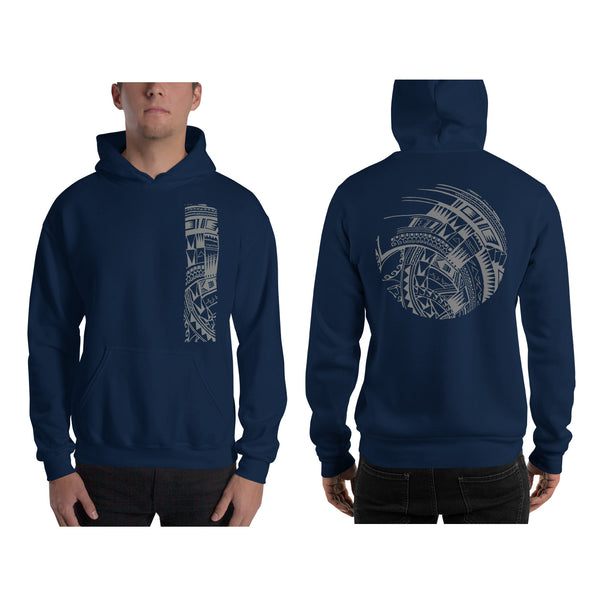Navy Blue Polynesian Samoan tattoo Hawaiian Hooded Sweatshirt