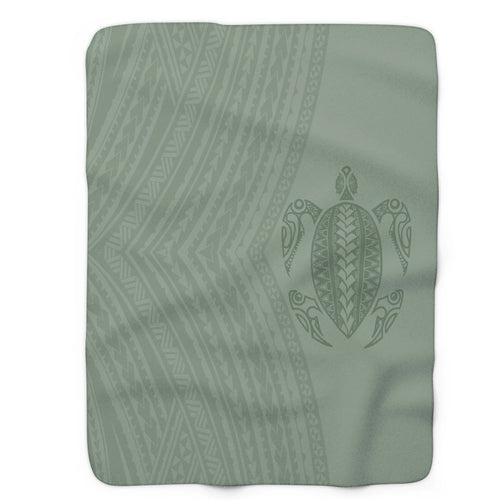 Polynesian tattoo green blanket