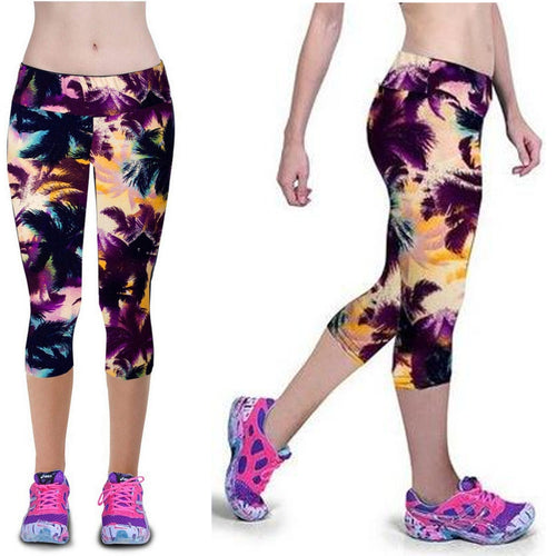 Purple, Navy & Cream Palm Tree Super Soft Yoga Capri / Crop Pants