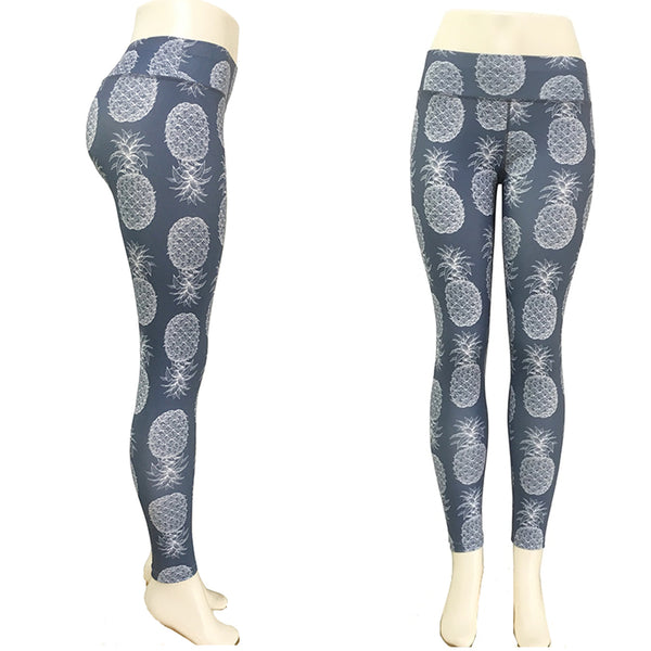 Blue-Gray or White Hawaiian Pineapple Long Yoga Pants / Leggings