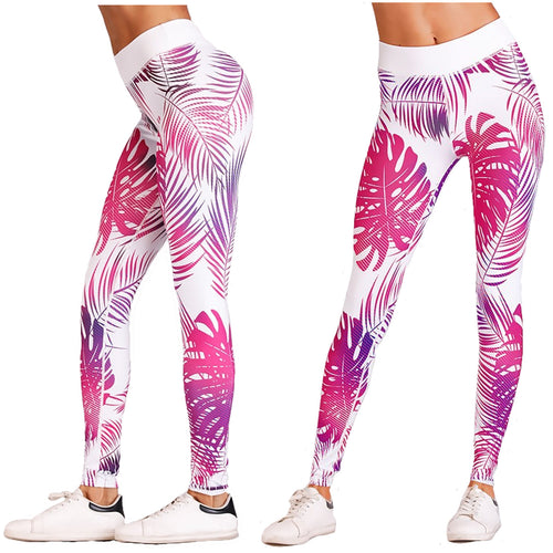 Pink and White Tropical Fern Hawaiian Long Yoga Pants / Leggings