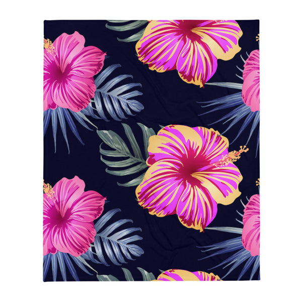 "Bright Pink Hibiscus  super soft Throw Blanket - Size - 50"" X 60"""
