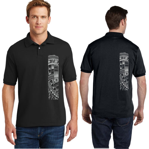 Polynesian tattoo mens polo shirt black