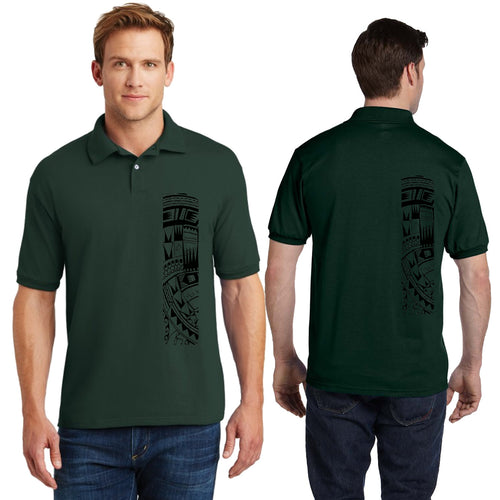 Men's Short Sleeve Heavy Weight Polo Sport Shirt with Samoan Tattoo Print - Mahina Collection - sizes up to 5XL