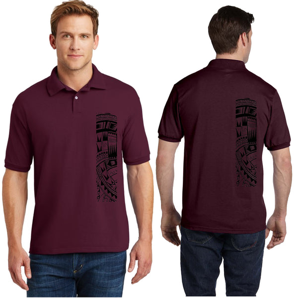 Men's Short Sleeve Heavy Weight Polo Sport Shirt with Samoan Tattoo Print - Mahina Collection
