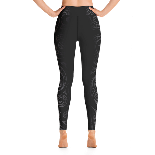 Koru Maori Tattoo Long Yoga Pants / Leggings - Short & Tall Lengths Available & Sizes up to 3XL