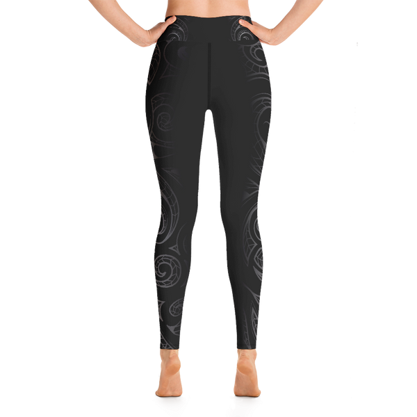 Malosi Samoan- Maori Fusion Tattoo Long Yoga Pants / Leggings - Short & Tall Lengths Available & Sizes up to 3XL
